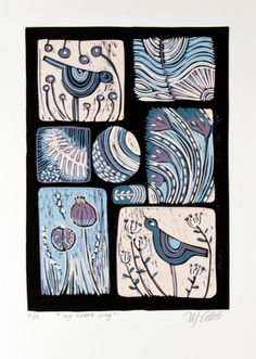 It's lovely how that very special person can make your heart sing! WHAT IS A LINOCUT?: a 6 color linocut print reduction, this means that as I am printing the very short edition of 10 prints I cut...