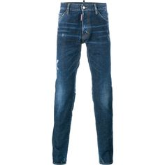 DSQUARED2 Cool Guy Distressed Jeans (41965 RSD) ❤ liked on Polyvore featuring men's fashion, men's clothing, men's jeans, mens stretch jeans, mens straight leg jeans, mens distressed jeans, mens relaxed boot cut jeans and men's relaxed fit jeans