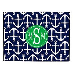 Monogrammed Doormat, Nautical Door Mat, Personalized, Floor Mat, Rug, Anchor, ANCHORS AWEIGH