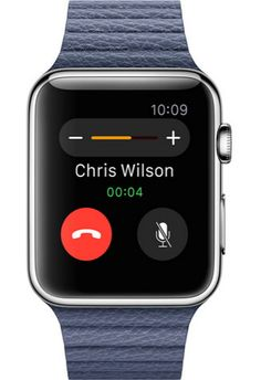 Image shwong an Apple Watch which is on a call