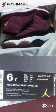 803ce688f57de ... best jordan 11 heiress air jordan 11 retro hc gg heiress maroon velvet  aj11 women kids