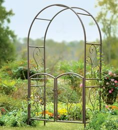 Wrought Iron Garden Arbor With Gate - I think this would be wide enough to go over the front walk.