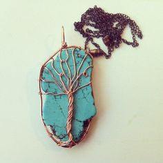 Turquoise Tree Necklace  @Lauren Merar   I feel like you would love this!