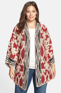 880095654d9 Lucky Brand Border Print Textured Open Front Cardigan (Plus Size) available  at  Nordstrom