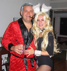 Hugh Hefner and Playboy Bunny Couples Halloween Costume Cool Halloween Costumes, Halloween Kostüm, Diy Halloween Costumes, Halloween Couples, Playboy Bunny Costume Halloween, Couple Halloween Costumes For Adults, Scary Costumes, Holiday Costumes, Creative Costumes