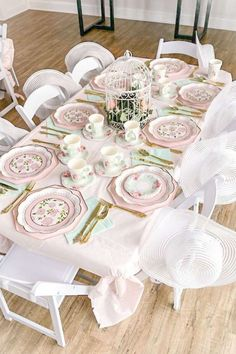 Don't miss this beautiful Minnie Mouse tea party! The table settings are so impressive! See more party ideas and share yours at CatchMyParty.com