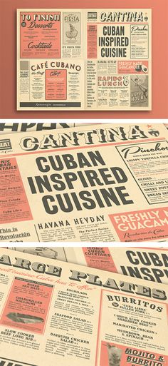 Cuban Cantina Newspaper Style Food Menu Design. Graphic Design, Typography, Illustration  by www.diagramdesign.co.uk