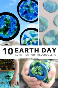10 Earth Day activities that help preschoolers understand the importance of taking good care of our planet. The collection includes fine motor, art, sensory, cooking, and large motor. Perfect as an addition to your spring theme! #preschool #earthday #spring #art #sensory #AGE3 #AGE4