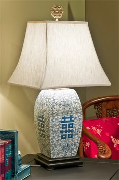 Bon Blue U0026 White Double Happiness Table Lamp