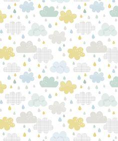 Papel pintado niños gotas de lluvia y nubes