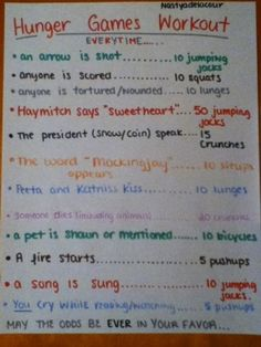 Hunger games Movie workout!!! You know, just the fact that I would get to watch the movie would probably motivate me to do the workout....