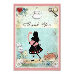Alice, Flamingo & Cat Bridal Shower Thank You