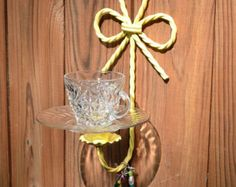 Bird Feeder Yellow Upcycled Vintage Glass Metal Candle Holder Recycle Handmade Littlestsister