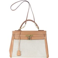 Tan Hermès Leather Canvas Kelly Bag DESIGNER REVIVAL (77145 MAD) ❤ liked on Polyvore featuring bags, handbags, genuine leather handbags, real leather handbags, white leather handbags, leather handbags and tan purse