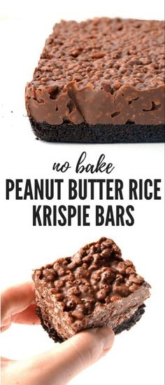 Butter Rice Krispie Bars Amazing no bake Peanut Butter Rice Krispie Bars with an Oreo crust. You only need 6 ingredients to make these gorgeous chocolate treats! Recipe from Amazing no bake Peanut Butter Rice Krispie Bars with an Oreo crust. Rice Krispie Bars, Peanut Butter Rice Krispies, Rice Krispie Treats Chocolate, Rice Krispies Treats, Peanutbutter Rice Crispy Treats, Healthy Rice Krispie Treats, Think Food, Chocolate Treats, No Bake Chocolate Desserts