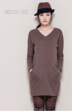 2014 New Arrival V Collar Slant Pockets Patched Long Sleeve Dress