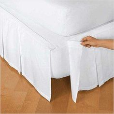 Never struggle to get a bed skirt on your mattress again. This easy-on bed skirt attaches with Velcro, so there is no need to lift your mattress and when ready to wash, just detach it without heavy lifting! This classic bed skirt features box pleats around 3 sides with split corners to accommodate footboards or bed posts. 100% cotton bed skirt, 100% polyester platform. Machine washa ...