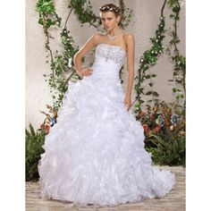 Ball Gown Strapless Chapel Train Beading Side-Draped Ruffles Wedding Dress – US$ 599.99