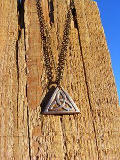 Celtic Trinity Necklace.  Etched Quarter Necklace by ManMadeDesign. Celtic Necklace. Celtic Jewelry. Trinity Necklace. Trinity Jewelry
