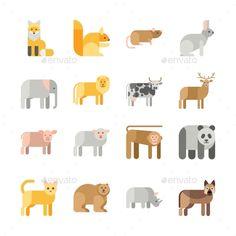 Flat design vector animals icon set stock vector - illustration of Design Typography, Design Logo, Design Poster, Game Design, Icon Design, Illustration Landscape, Graphic Illustration, Flat Design Inspiration, The Wolf Game