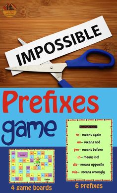 Prefixes are very much a part of the CCSS.  This game has 4 boards to play with 4 variations of difficulty to challenge students from grades 2 - 5.  Only the most frequently used PREFIXES were used to maximize learning.  Come check out this paid resource!