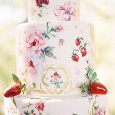 Pretty Strawberry & Roses Motif Cake