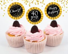 40th birthday cupcake toppers  Black and by PaperieAndCreations