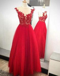 Red A-Line Prom Dress,Long Evening Dress,Appliques Prom Dress ,Charming Prom Dress