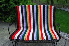 Vintage Afghan Retro Stripes by CheekyVintageCloset on Etsy, $22.00