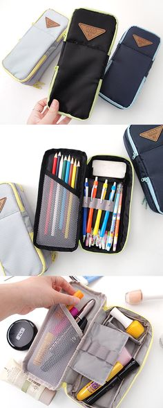 Feast your eyes on this multipocketed wonder! It's a unique multipurpose pouch with compartments of various sizes & uses for optimum organization! The top has pockets on either end to store small items like your earbuds or cards. In the main compartment, there is a large & small section as well as a divider to hold your favorite items & a mesh pocket too! It's also padded to protect your belongings. This smart pouch is like a treasure box for your school supplies, makeup, craft supplies…