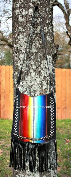 KurtMen Designs Cross Body Black Serape, Silver Star Studded and Clear Crystals Trim, Black Fringe and Black Back Purse Shop now at www.gugonline.com