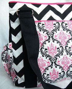 Pink and Black Damask and Chevron Fierce by BrookeVanGoryDesigns, $89.99