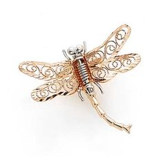 Two-Tone Gold Dragonfly Pin - Grams in White Gold and Rose Gold - 1 inch wide x 1 inch long - FREE gift-ready jewelry box Diamond Brooch, Free Gifts, Brooch Pin, Jewelry Box, Jewelry Design, White Gold, Rose Gold, Detail, Rings