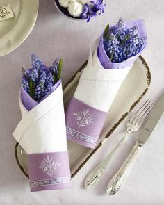 Napkin with some Lavender...  tutorial - painted felt-ring with ribbon