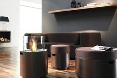 DOTS - is the first time that a fireplace and seating have been brought together to create a portable product family. The cylindrical elements can be assembled on a balcony, on the terrace or in the garden, and together they generate a backdrop which lends itself to communication – a modern interpretation of sitting around a campfire.