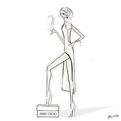 Jimmy Choo illustration Viola 110 white on white Tiffany La Belle Art & Illustration