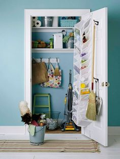 Make a clean sweep of your utility closet by organizing all the household cleaning supplies -- youll make cleaning a breeze when you can find everything easily in one place. Separate cleaning supplies in containers for specific rooms: a bathroom bucket with cleaner for the toilet, shower, and glass; a bedroom caddy with a dust cloth, surface cleaner, and linen spray. Stash sponges and used rags in wire trays and baskets to let air in and moisture out. Store gloves, cleaning wipes, and extr