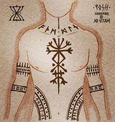 Viking Rune Tattoo, Norse Tattoo, Celtic Tattoos, Viking Tattoos, Pagan Tattoo, Armor Tattoo, Wiccan Tattoos, Inca Tattoo, Warrior Tattoos