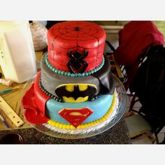 Spiderman, Batman and Superman cake. Superheroes unite ;)