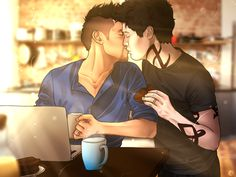 """""""Happiness is only real when being shared"""" ... Drawn by mundanelion ... shadowhunters, alexander 'alec' lightwood, magnus bane, the mortal instruments, malec"""