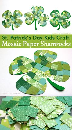 Mosaic Paper Shamrocks St Patricks Day Kid Craft