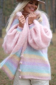 Knit Cardigan Outfit, Chunky Knit Cardigan, Mohair Sweater, Knit Jacket, Sewing Clothes, Crochet Clothes, Diy Clothes, Rainbow Cardigan, Crochet Doll Tutorial