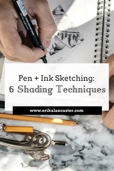 Pen and Ink Shading Techniques - 6 Basic mark-making techniques to add shading to ink drawings Sketching Tips, Drawing Tips, Sketching Techniques, Book Drawing, Wall Drawing, Woman Drawing, Sketch Drawing, Drawing Ideas, Shading Techniques