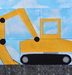 Foundation paper pieced excavator or digger vehicle PDF quilt block pattern; baby boy or kid's construction equipment quilt block…