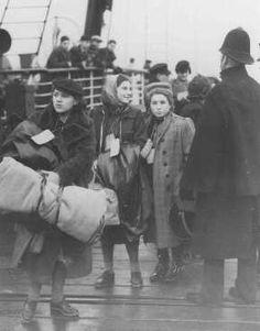 "502 children refugees from Vienna arrive at Harwich on the steamer ""The Prague"" on 12th December 1938.  (Credit: WorldWidePhoto, USHMM.)"