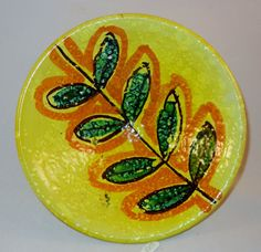 Vintage Italy Pottery Art Bowl Yellow Green Orange Black Footed 1960s Retro Style signed Italy