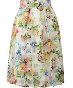 choies Floral High Waist Sheer Insert Flare Midi Skirt