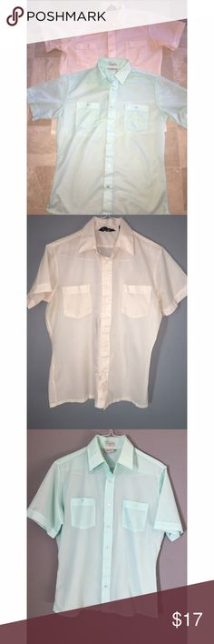 Men's Vintage Short Sleeve Button Down Lot of 2 men's vintage short sleeve button down. Very metro! Pale blush color is in perfect condition, the mint has a few stains (see photo). Size medium. Please ask any and all questions prior to purchase. Shirts Casual Button Down Shirts