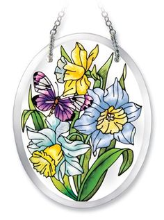 Amia 6195 Butterfly and Daffodils Design Hand-Painted Glass Suncatcher, 5-1/4-Inch by 4-Inch by Amia. $18.25. Includes chain. Beveled, hand-painted glass. Comes boxed, makes for a great gift. Amia Glass is a top selling line of handpainted glass decor. Known for tying in rich colors and excellent designs, Amia has a full line of handpainted glass pieces to satisfy your decor needs. Items in the line range from suncatchers, window decor panels, vases, votives a...