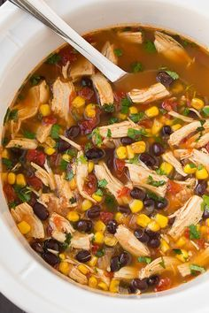 Slow Cooker Chicken Tortilla Soup - Added avocado and cilantro. Super easy, yummy and healthy. Maybe a little high in sodium, but you have to have some, right? Slow Cooked Meals, Slow Cooker Recipes, Soup Recipes, Dinner Recipes, Milk Recipes, Dinner Ideas, Chicken Recipes, Meal Ideas, One Pot Dinners